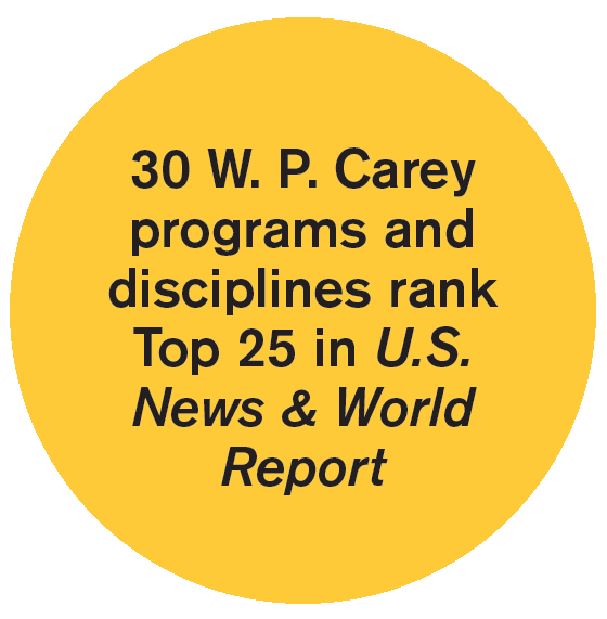 30 W. P. Carey programs and disciplines rank Top 25 in U.S. News & World  Report clipart